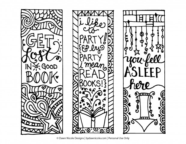 Bookmarks-Coloring-Page-HiResPrintable-DawnNicoleDesigns